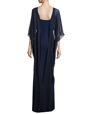 Image 2 of 2: Stretch Crepe Column Gown