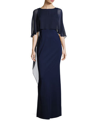 Image 1 of 2: Stretch Crepe Column Gown
