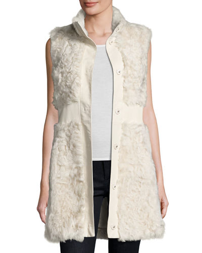 Pologeorgis Lamb Leather-Trim Vest