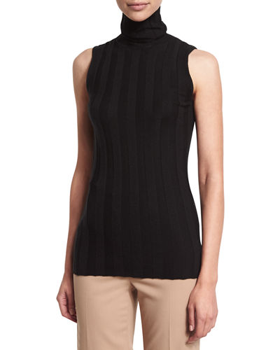 Petite Sleeveless Turtleneck Ribbed Shell