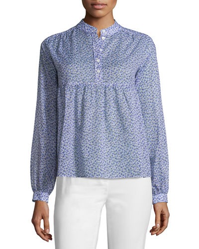 Long-Sleeve Floral-Print Empire Blouse
