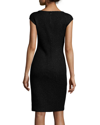 Allure Knit Scoop-Neck Cap-Sleeve Sheath Dress