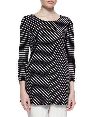Caroline Rose Bias-Striped Knit Tunic & Cabo Crinkle