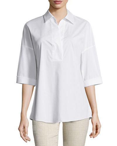 Lafayette 148 New York Baldwin 3/4-Sleeve Cotton-Stretch Blouse