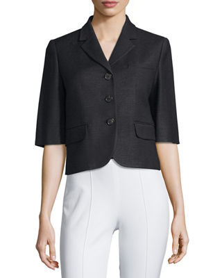 Half-Sleeve Button-Front Jacket