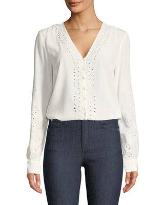 Veronica Beard Embroidered Long-Sleeve Top