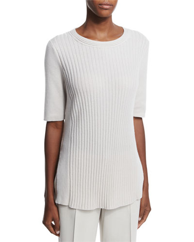 Lafayette 148 New York Half-Sleeve Ribbed Cashmere Sweater