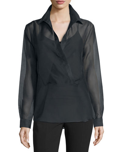Michael Kors Long-Sleeve Wrap-Placket Blouse