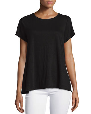 Eileen Fisher Short-Sleeve Organic Linen Jersey Swing Tee