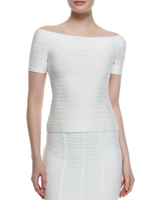 Herve Leger Off-The-Shoulder Bandage Peplum Top