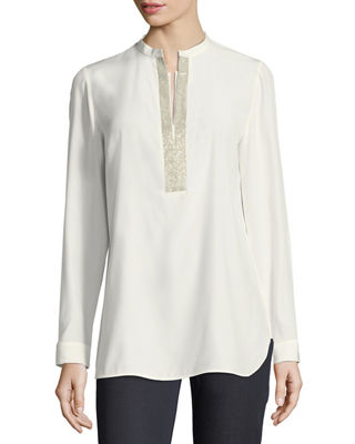 Lafayette 148 New York Dunham Silk Blouse w/ Chain Detail