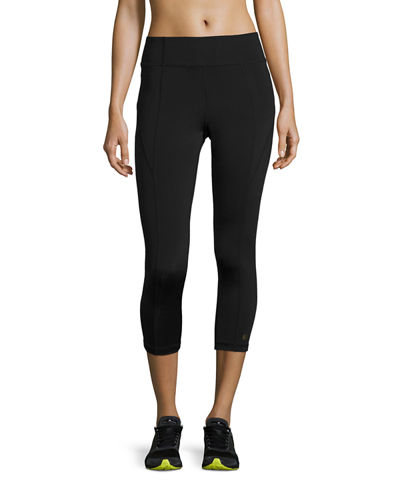 Aurum Paneled High-Rise Cropped Leggings, Black