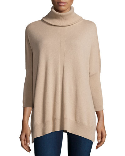 Josie Natori Cashmere Dolman-Sleeve Turtleneck Sweater
