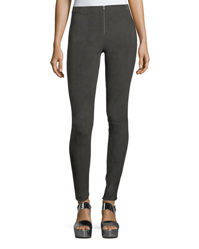 Alice + Olivia Front-Zip Suede Leggings