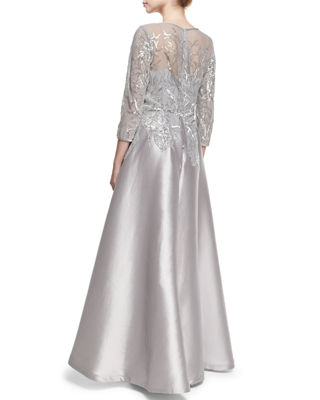 Image 2 of 2: 3/4-Sleeve Embellished Ball Gown