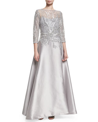 Image 1 of 2: 3/4-Sleeve Embellished Ball Gown