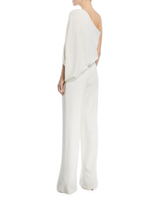 Image 2 of 4: One-Shoulder Draped Stretch Crepe Jumpsuit