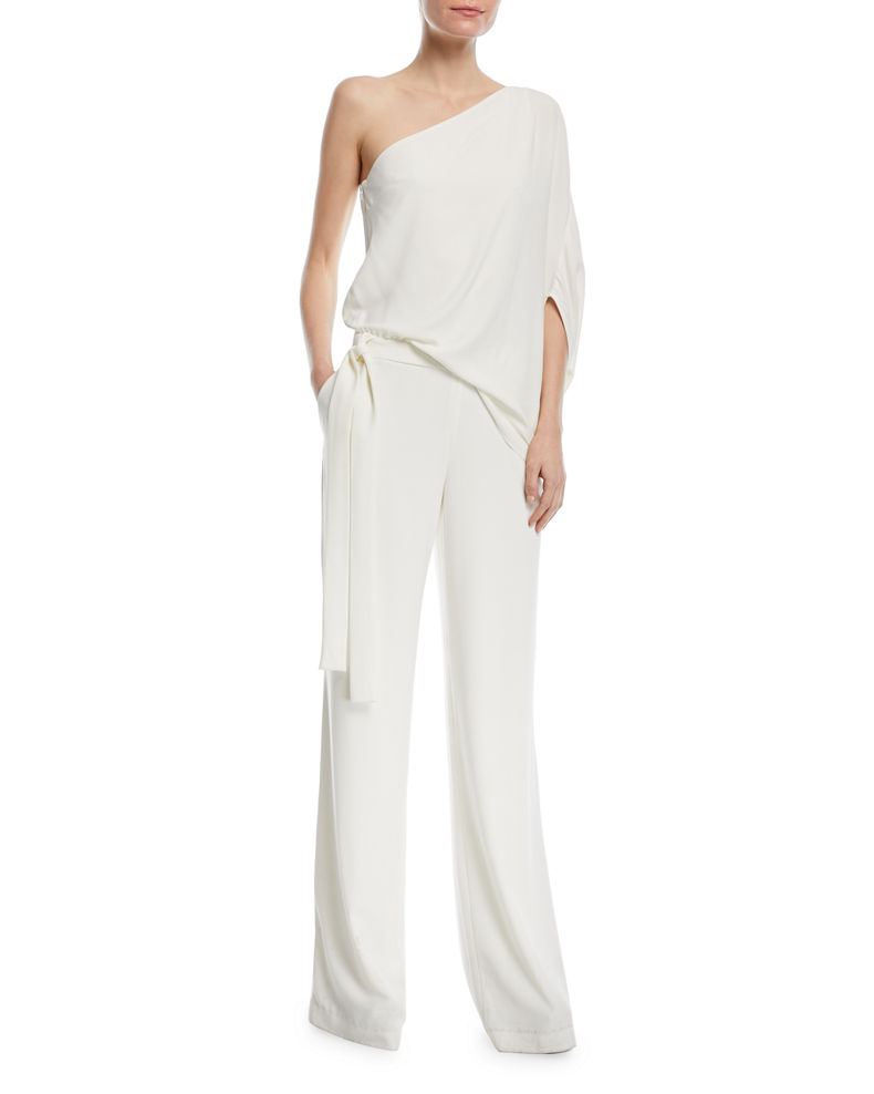 Halston One-Shoulder Draped Wide-Leg Jumpsuit