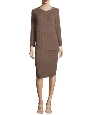 Sand-Stitched Zip-Pocket Shift Dress