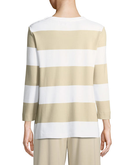 Image 3 of 3: Joan Vass Plus Size Striped Pullover Top