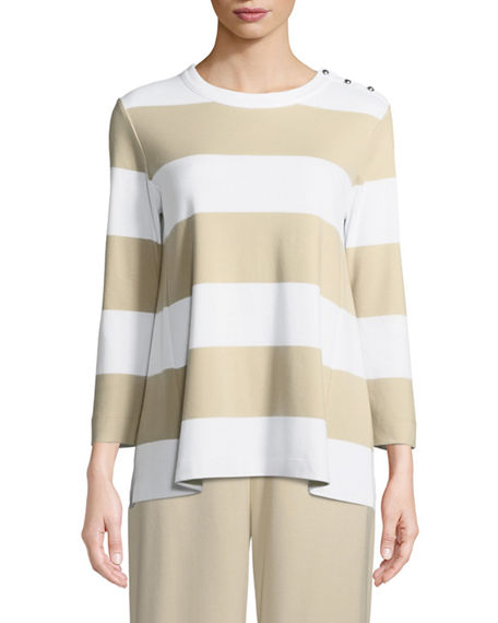 Image 1 of 3: Joan Vass Plus Size Striped Pullover Top