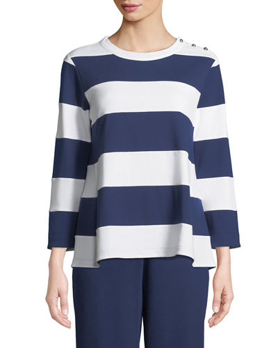 Striped Pullover Top, Plus Size