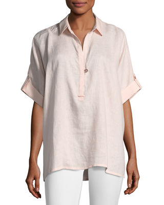Go Silk Oversized Short-Sleeve Linen Tunic, Plus Size