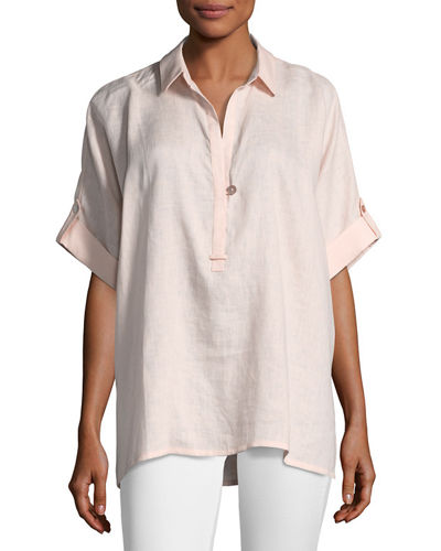 Go Silk Plus Size Oversized Short-Sleeve Linen Tunic