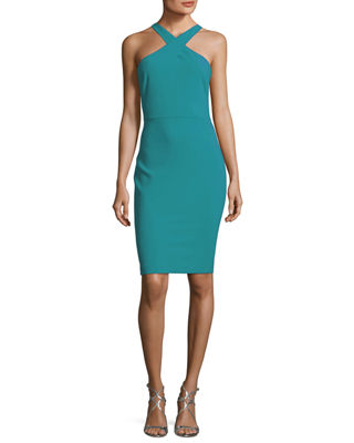 Image 1 of 2: Carolyn Halter-Neck Sheath Dress