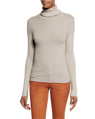 Alice + Olivia Roberta Long-Sleeve Ribbed Wool Sweater