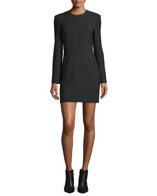 Rudi Long-Sleeve Crepe Open-Back Sheath Dress