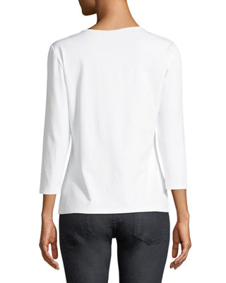 Image 3 of 4: 3/4-Sleeve Swiss Stretch-Cotton Crewneck Top
