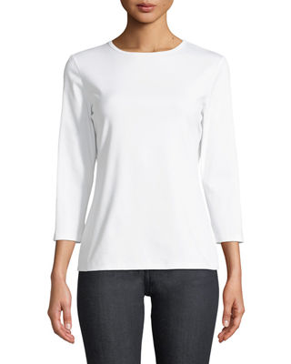 3/4-Sleeve Swiss Stretch-Cotton Crewneck Top