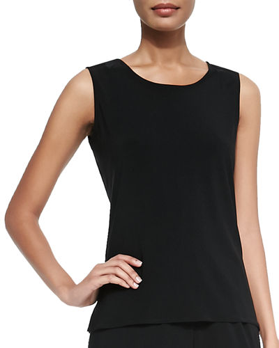 Caroline Rose Stretch Knit Long Tank, Black, Petite