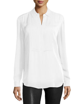 Image 1 of 2: Pleated Bib Long-Sleeve Shirt