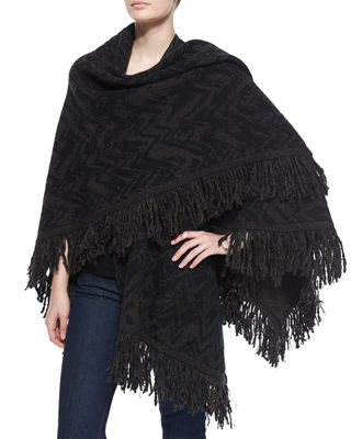 Chevron Wool Shawl W/ Fringe
