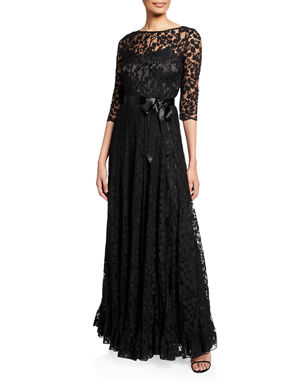 ea91fc15f01 Rickie Freeman for Teri Jon 3 4-Sleeve Lace Overlay Gown