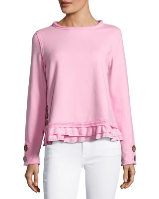 Cape Side Ruffled-Hem Pullover