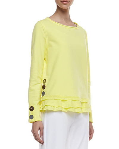 Neon Buddha Cape Side Ruffled-Hem Pullover & Seascape