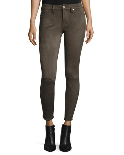 7 For All Mankind Knee-Seam Sueded Skinny Jeans