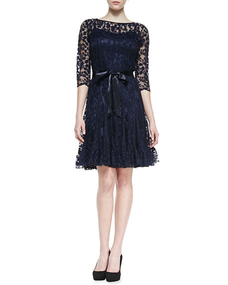 Image 1 of 2: Rickie Freeman for Teri Jon 3/4-Sleeve Lace Overlay Cocktail Dress