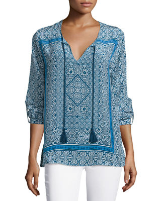 Tolani Virginia Long-Sleeve Printed Tunic, Plus Size
