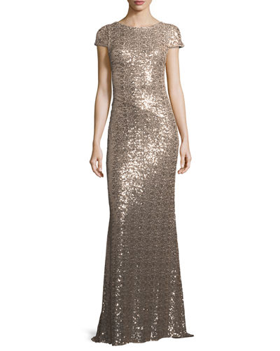Badgley Mischka Cap-Sleeve Cowl-Back Sequined Gown