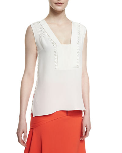 Crepe Guipure-Detail Sleeveless Top