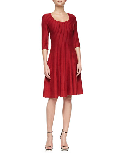 Petite Twirl Half-Sleeve Knit Fit-and-Flare Dress