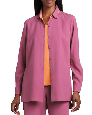 Image 1 of 2: Easy-Fit Colorblock Silk Shirt