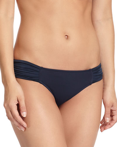 Pleated-Side Hipster Swim Bikini Bottom