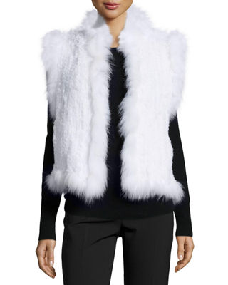 Belle Fare Knitted Rabbit Fur Vest w/Fox Fur