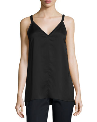 Image 1 of 2: Fringe-Trimmed Satin Cami Top