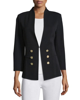 3/4-Sleeve Button-Front Jacket, Plus Size